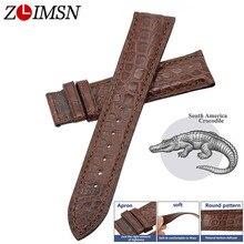 ZLIMSN Handmade ผลิตจระเข้หนังนาฬิกา 12 มม. 26 มม.พื้นผิวลายหนังจระเข้สีน้ำตาล Watchband