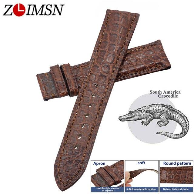 ZLIMSN Handmade manufacture luksusowa skóra krokodyla watch Band 12mm 26mm okrągły pasek ziarna brązowa skóra krokodyla Watchband