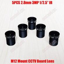 """5 ชิ้น/ล็อต 3MP 1/2. 5 """"IR 2.8 มม.160 องศามุมกว้างกล้องวงจรปิดเลนส์ M12 MTV Mount สำหรับ Analog IP โมดูลกล้อง"""