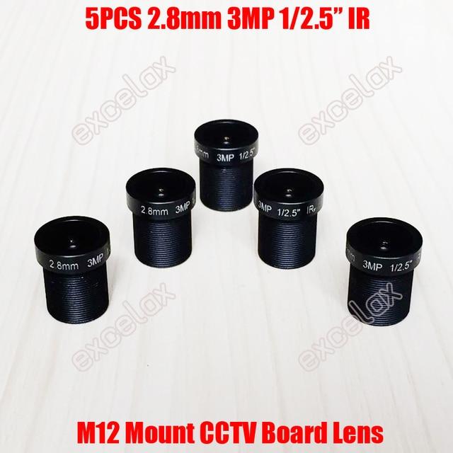 "5 unids/lote 3MP 1/2 5 ""IR 2,8mm 160 grados vista gran angular CCTV lente de placa fija M12 MTV montaje para IP analógica módulo de cámara"