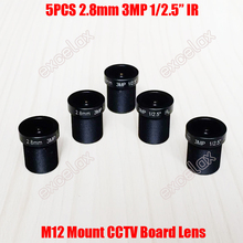 """5PCS/Lot 3MP 1/2.5"""" IR 2.8mm 160 Degrees Wide Angle View CCTV Fixed Board Lens M12 MTV Mount for Analog IP Camera Module"""