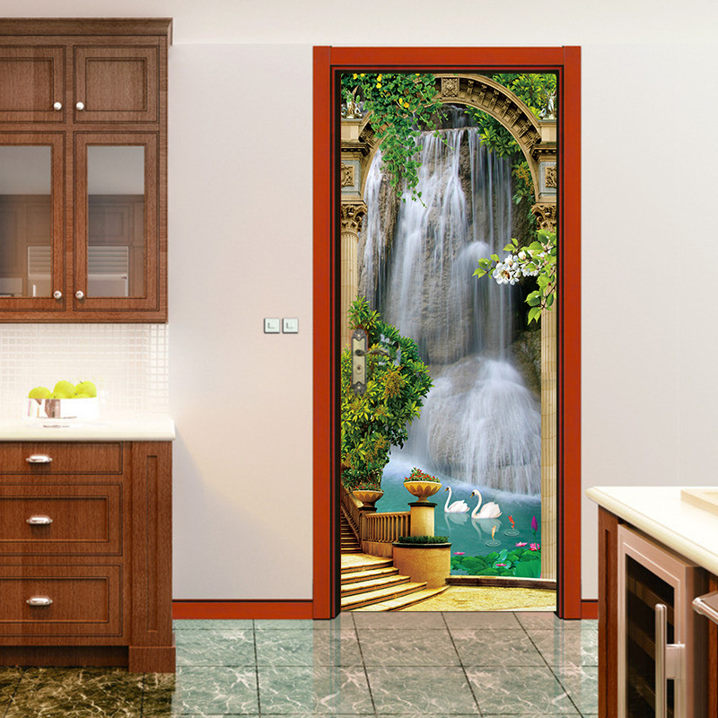 Image 3 - Scenic Door Murals Forest Wall Mural Door Decals Door Wall Sticker Waterfall Mural Door Wall Stickers Wallpaper Mural DIY Home-in Wall Stickers from Home & Garden