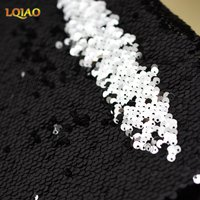 125 45CM 5mm Sparkly Black Embroidered African Lace Mermaid Reversible Sequin Fabric For Clothes Wedding Decor