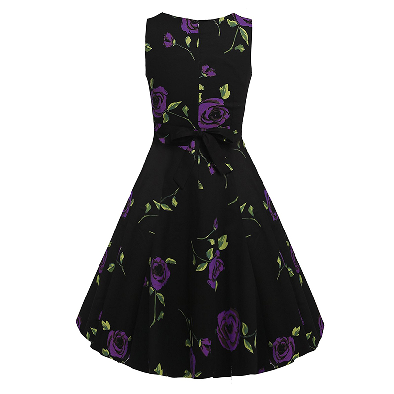 Kostlish Cotton Summer Dress Women 2017 Sleeveless Tunic 50s Vintage Dress Belt Elegant Print Rockabilly Party Dresses Sundress (55)