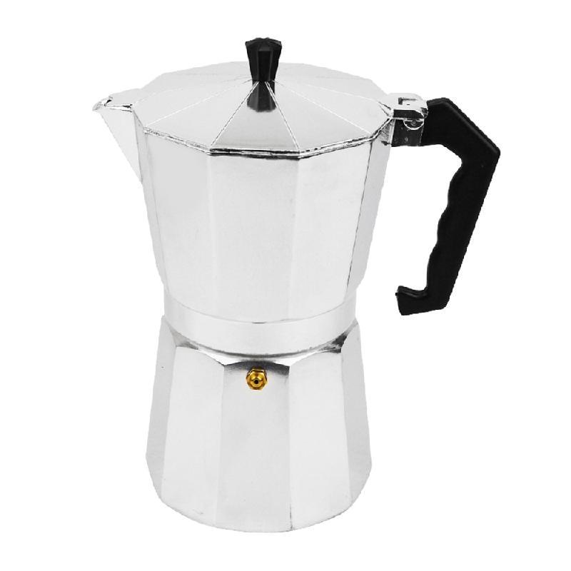 Moka Express Stovetop Espresso Coffee Maker Pot Latte <font><b>Percolator</b></font> Stove <font><b>9</b></font> <font><b>Cup</b></font> 450ML <font><b>Aluminum</b></font>