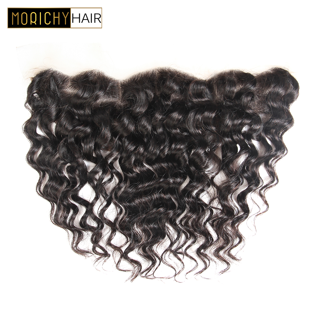 MORICHY Hair Brazilian Deep Wave Lace Frontal 13*4 Ear to Ear Free Part Lace Frontal Closure 100% Remy Human Hair Natural Color