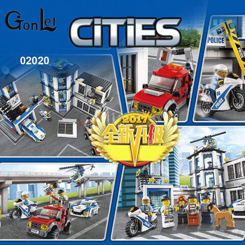 GonLeI LEPIN 02020 965Pcs City Series The New Police Station Set Children Educational Building Blocks Bricks Toys Model 60141 gonlei 02012 774pcs city series deepwater exploration vessel children educational building blocks bricks toys model gift 60095