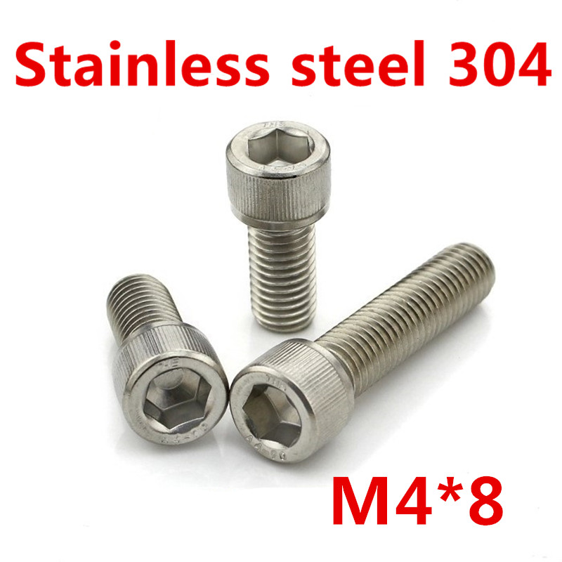 Free Shipping 100pcs/Lot Metric Thread DIN912 M4x8 mm M4*8 mm 304 Stainless Steel Hex Socket Head Cap Screw Bolts 20pcs m3 m12 screw thread metric plugs taps tap wrench die wrench set