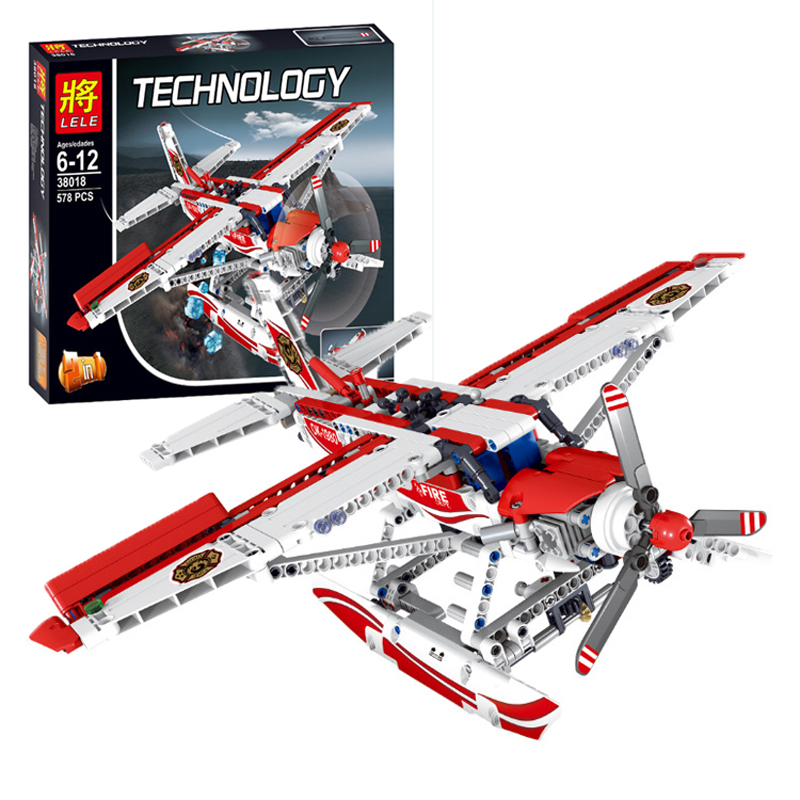 2017 New 578Pcs 38018 LELE Technic Figures Fire Plane Model Building Kits Blocks Bricks Toys For Children Gift Compatible 42040 10646 160pcs city figures fishing boat model building kits blocks diy bricks toys for children gift compatible 60147