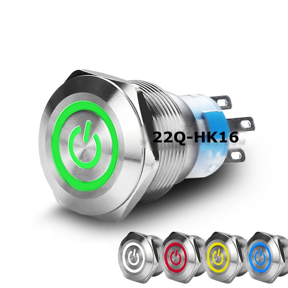 22mm Flat Power Ring LED Head Momentary/Self-locking IP65 Stainless Steel/Brass Nickel Plated 1NO1NC Metal Push Button Switch