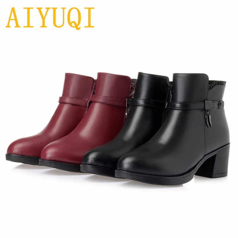 AIYUQI/женские зимние ботинки; Новинка 2019 года; женские Ботинки martin из натуральной кожи; шерстяные ботинки на высоком каблуке; женская свадебная обувь; большие размеры