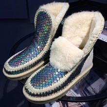 Plus Size 43 Brand Glitter Australia Boots Women Winter Shoes With Fur Warm Snow Boots Platform Shoes Winter Ankle Boots