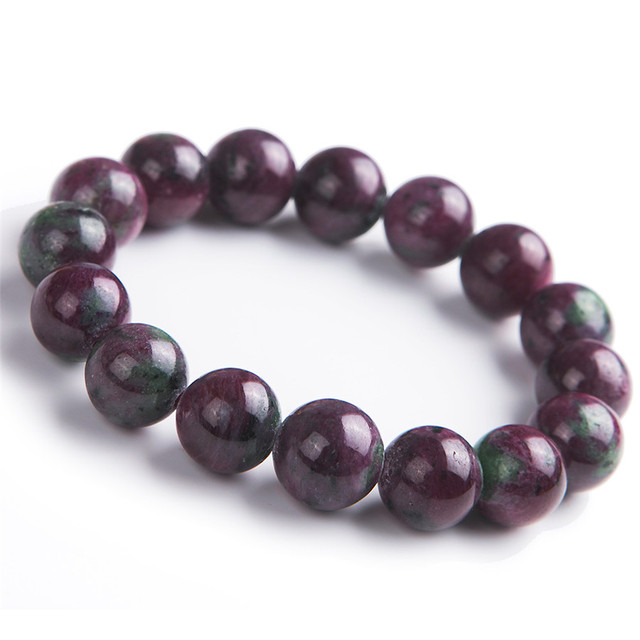 Genuine Natural Ruby Zoisite Gemstone Bracelet 13mm Stretch Crystal Round Bead Bracelets
