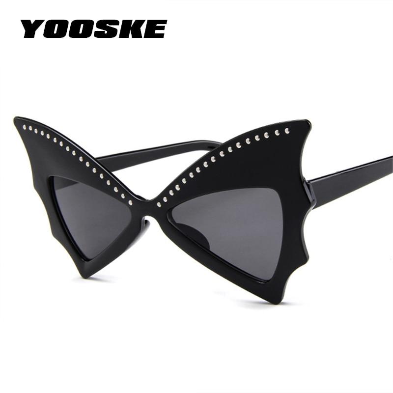 YOOSKE Oversize Sunglasses Shades Big Frame Personality Women Sharp Bat Rivet Dance