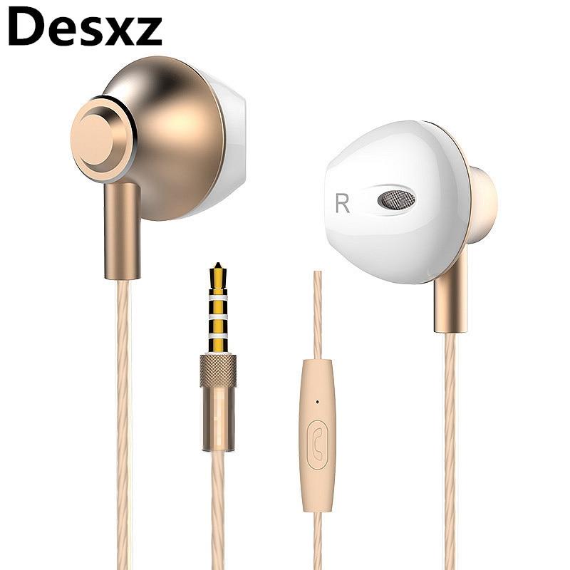 Desxz Earphone 3.5mm Ergofit Audifonos Metal Bass Airpods with Microphone Headset Earbuds for Phone Computer Fone De Ouvido 2017