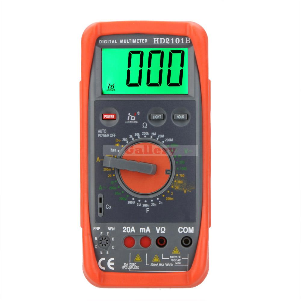 Hd Hd2101b Digital Multimeter Dmm Ammeter Voltmeter Ohmmeter W Capacitance Hfe & Lcd Backlight Meter Tester Digital Multimeter f47n multimeter pointer mechanical capacitance meter ammeter voltmeter pocket