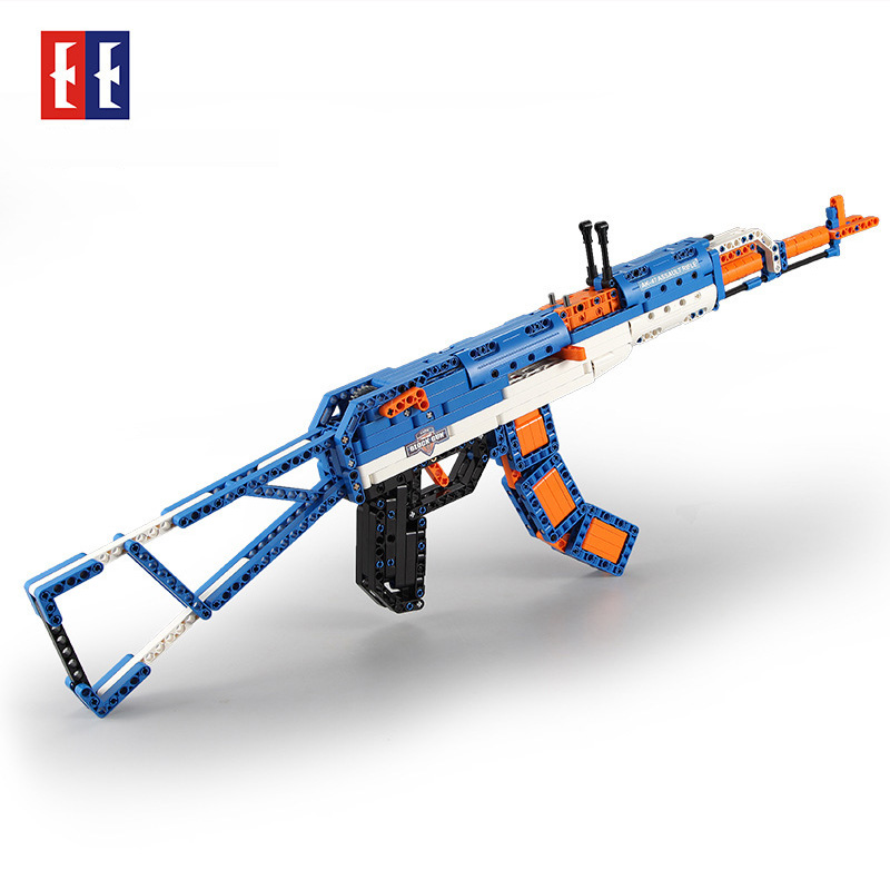PUBG AK 47 plastic Rifle Assembled Military Technic Building Block Brick fit for Legos Kids Outdoor Game Model CS toy gun цена