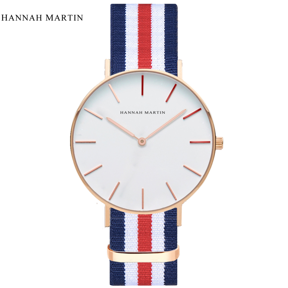 New Watch Women Hannah Martin Brand Luxury Fashion Casual Quartz Unique Stylish Hollow Skeleton Watches Nylon Sport Wristwatches vansvar brand luxury fashion casual quartz unique stylish hollow skeleton watch leather sport ladies wristwatches drop shipping
