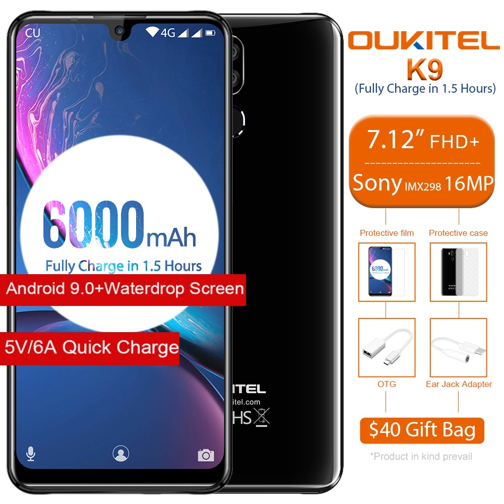 """OUKITEL K9 Waterdrop Face ID Smartphone 7.12"""" FHD+ 1080*2244 16MP+2MP/8MP Mobile Phone 4GB 64GB 6000mAh 5V/6A Quick Charge OTG"""