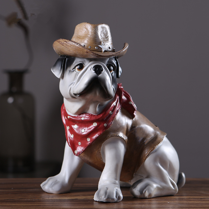 New Creative Personality Occupation French Bulldog Dog Simulation Resin Dog Ornaments Figurine Statue Artificial Dog Cowboy