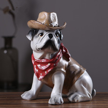 New Creative Personality Occupation French Bulldog Dog Simulation Resin Ornaments Figurine Statue Artificial Cowboy Navy