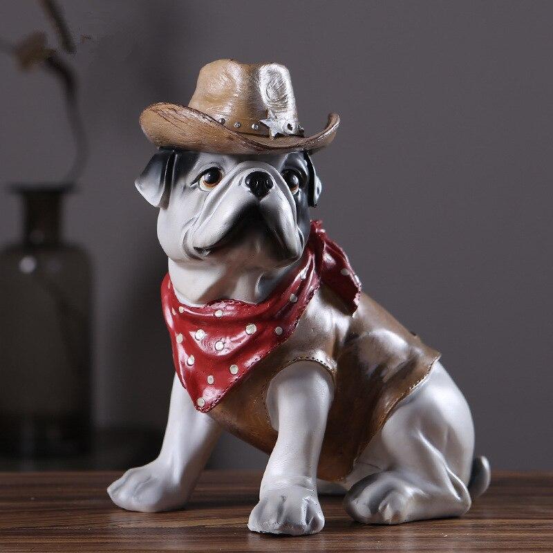Ev ve Bahçe'ten Heykelcikler ve Minyatürler'de Yeni Yaratıcı Kişilik Meslek Fransız Bulldog Köpek Simülasyon Reçine Köpek Süsler Heykelcik Heykeli Yapay Köpek Kovboy Donanma'da  Grup 1