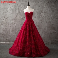 Dark Red Long Lace Evening Dresses Party 2017 Women A Line Prom Formal Evening Gowns Dresses