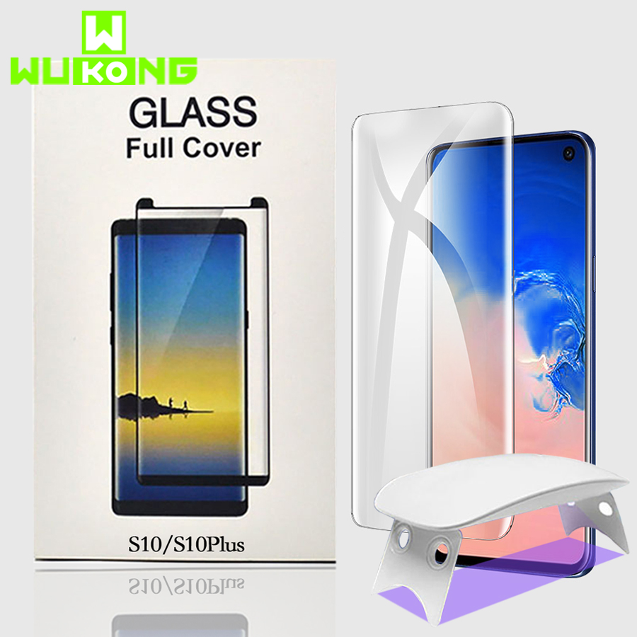 UV Full Glue Screen Protector For Samsung S10e Plus S8 S9 Plus Note 9 Tempered Glass Full Cover UV Light Liquid HW Mate 30 Pro