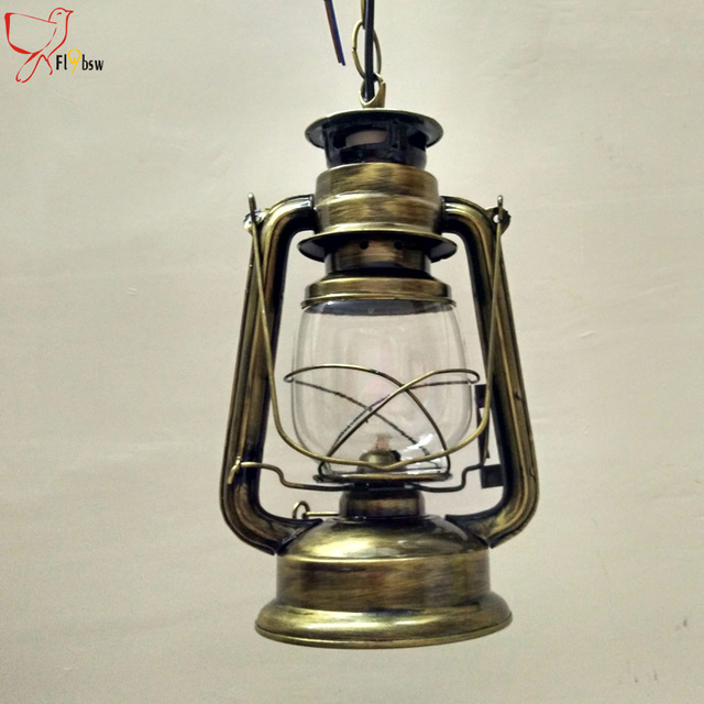 Charming Eu Barn Lantern Nostalgic Retro Pendant Light Vintage Creative Kerosene Lamp  Restaurant Bar Lantern Lamp Hanging