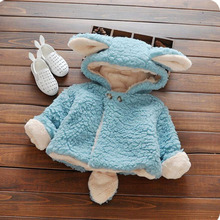 Korean Winter baby gril woolen coat thicken warmth fashion children long sleeve jacket cute cardigan comfort infant clothing