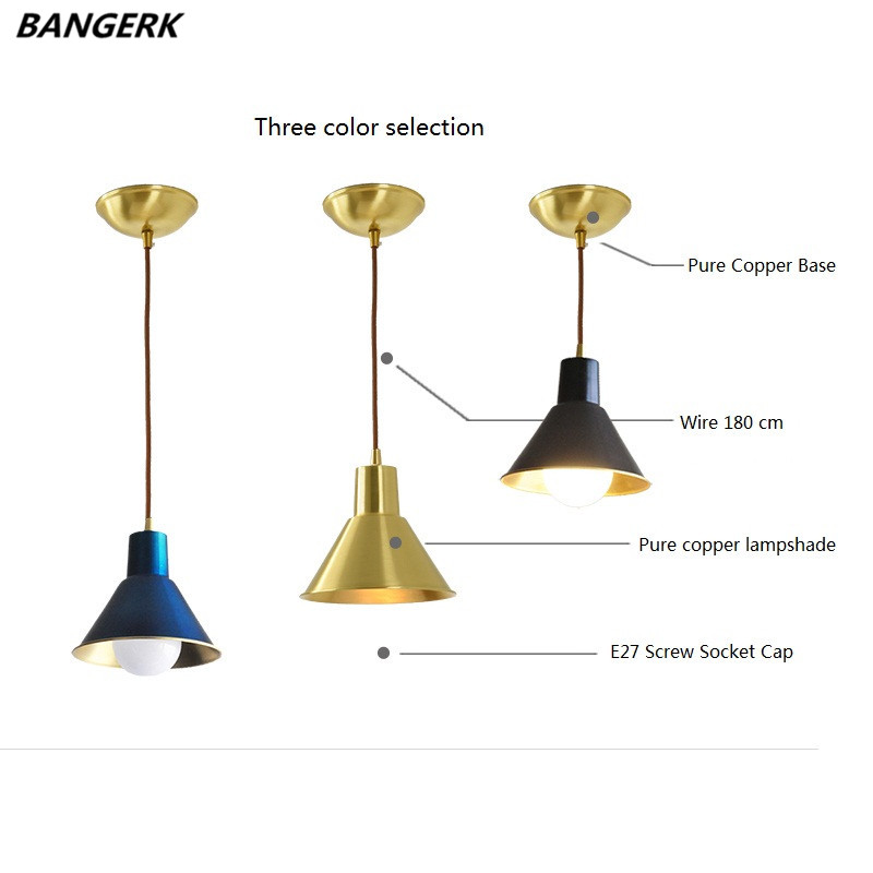 Antique Loft Copper LED Pendant Light Lamps Nordic Design Industrial Vintage Hanging Lamp Brass Home Decor Lighting Luminaire square corners hanging antique copper 2 candelabra sockets clear glass