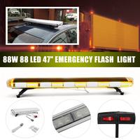 47inch 88W Car LED Flash Emergency Beacon Light 88LED Response Strobe Light Amber/White For Car Truck Vehicle