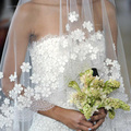 Elegante Da Forma Bonita do Laço Apliques Flores One-Camada Longo Véus de Noiva Acessórios Do Casamento 2015