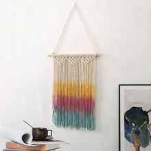 Colorful Hand Knotted Macrame Wall Art Handmade Cotton Bohemian Hanging Tapestry with Tassel Boho Wedding Decoration