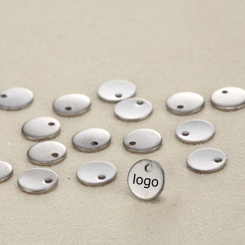 6mm small Custom Tag Round Shape Stainless Steel Charm Customized Charm Engrave Laser your own logo