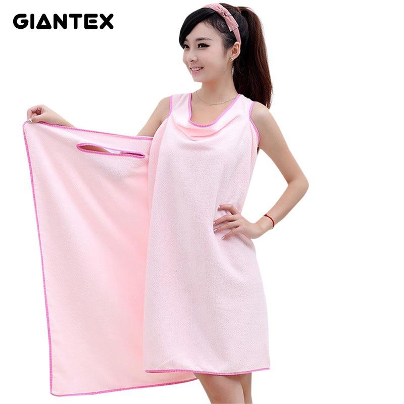 GIANTEX Microfiber Women Sexy Bath Towel Wearable Beach Towel Soft Beach Wrap Skirt Super Absorbent Bath Gown U0826