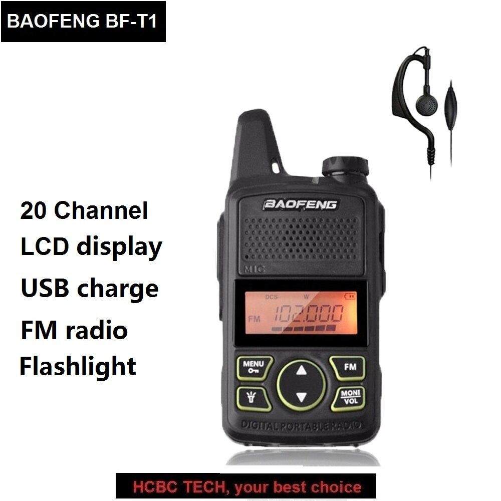 Baofeng BF-T1 Mini Talkie Walkie Portable CB Radio UHF 400-470 mhz 20CH BF T1 Mobile Émetteur-Récepteur BAOFENG T1 FM lampe de Poche