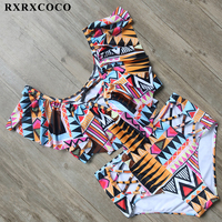 RXRXCOCO Brand Bikini Set Sexy Swimsuit Plus Size Swimwear Women High Waist Bathing Suit Set Off