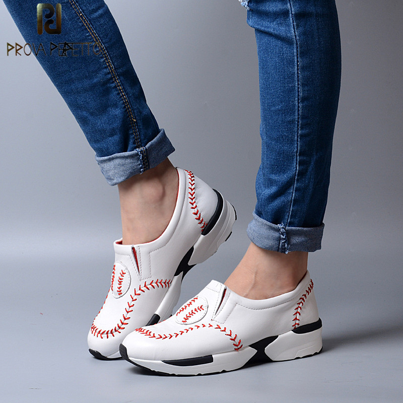 Prova Perfetto New Style Leisure Thick Bottom Wedge Women Shoes Pointed Toe Shallow Shoes Mixed Color student Baseball Shoes