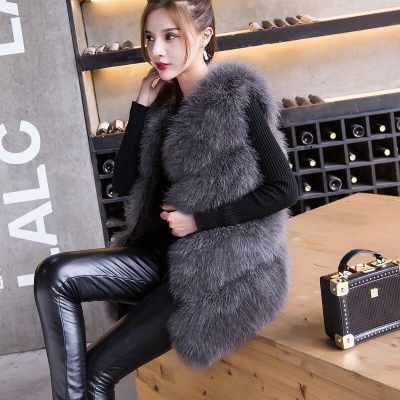 Новое поступление Винтажный стиль настоящий вязаный жилет из меха страуса жилет из натурального меха - Цвет: grey