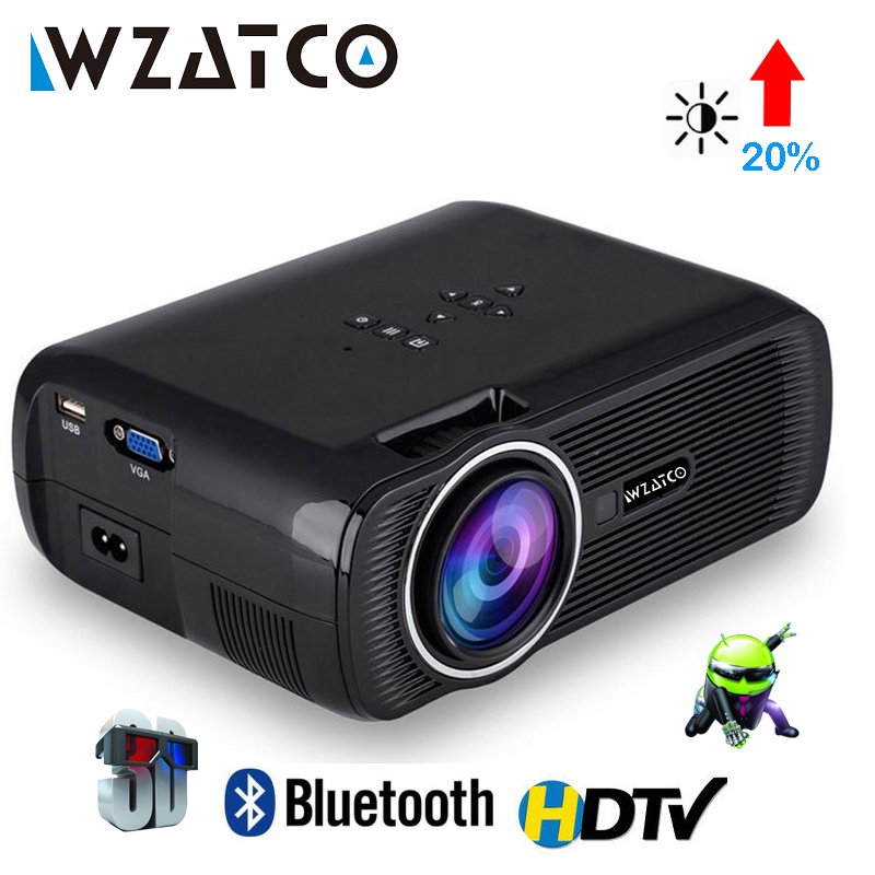 WZATCO CTL80 Android 6 Mbështetje e Projektuesit Mini TV 3D WiFi Smart Portable Mbështetje Projektori HD Full HD 1080p 4K Video Proyector Beamer Theater
