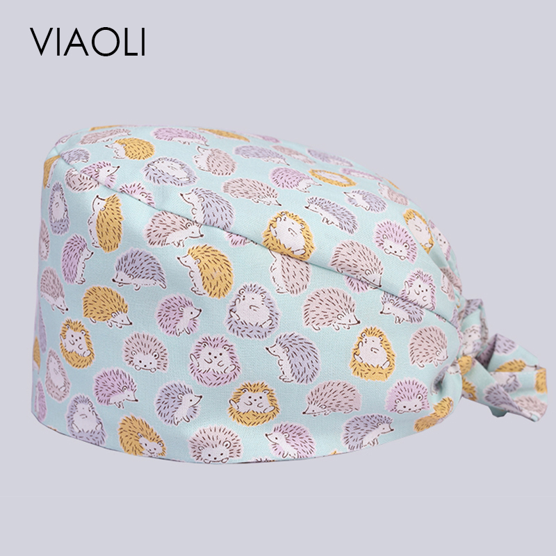 Viaoli Hot Sale Men And Women Beauty Salon Work Cap Operating Room Hat Doctor Nurse Dental Cotton Printing
