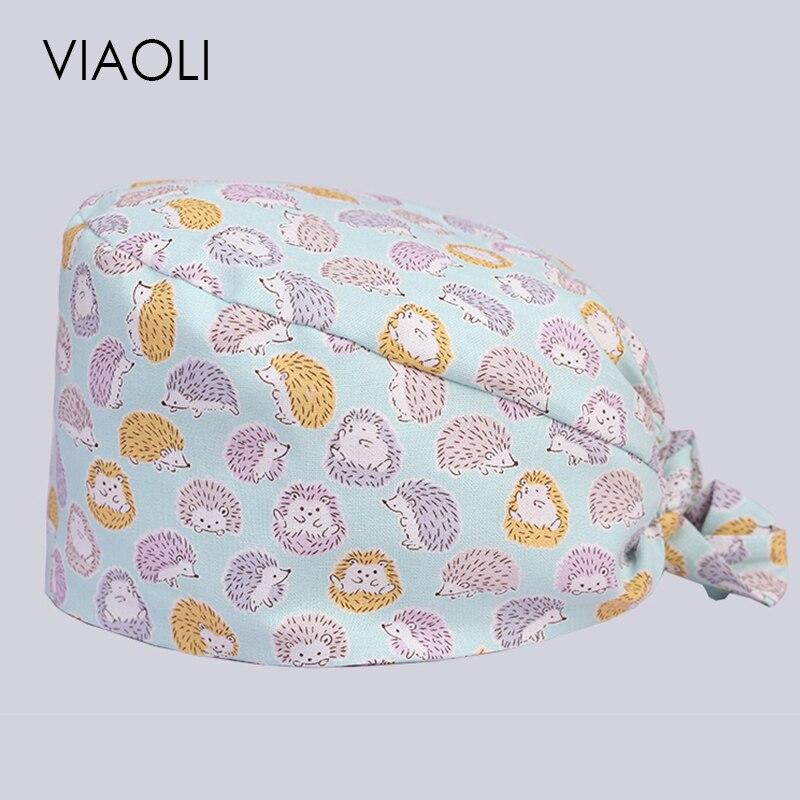 Viaoli Hot Sale Men And Women Beauty Salon Work Cap Operating Room Hat Doctor Nurse Dental Cotton Printing