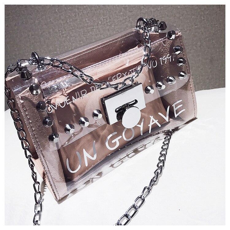 18 Summer Fashion New Handbag High quality PVC Transparent Women bag Sweet Printed Letter Square Phone bag Chain Shoulder bag 21