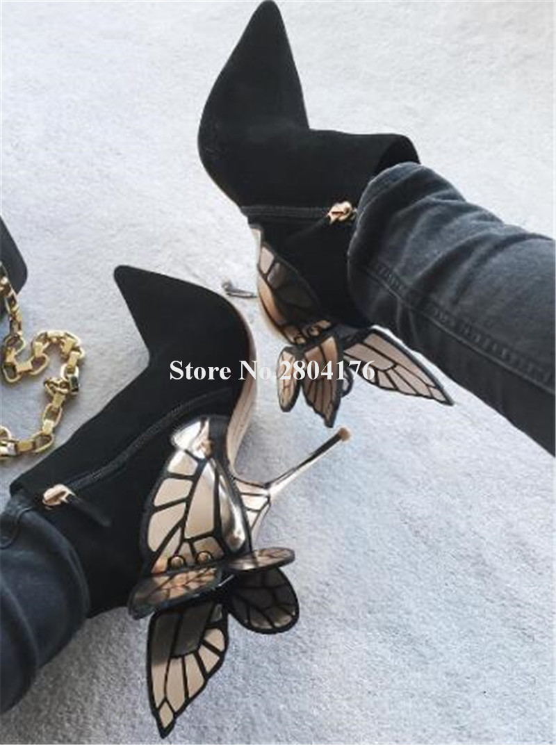 Ladies Charming Pointed Toe Black Suede Leather Butterfly Thin Heel Short Boots Gold Wings High Heel Ankle Booties Dress Shoes hot selling women charming flock back gold metallic 3d butterfly embellished short boots pointed toe suede leather ankle booties