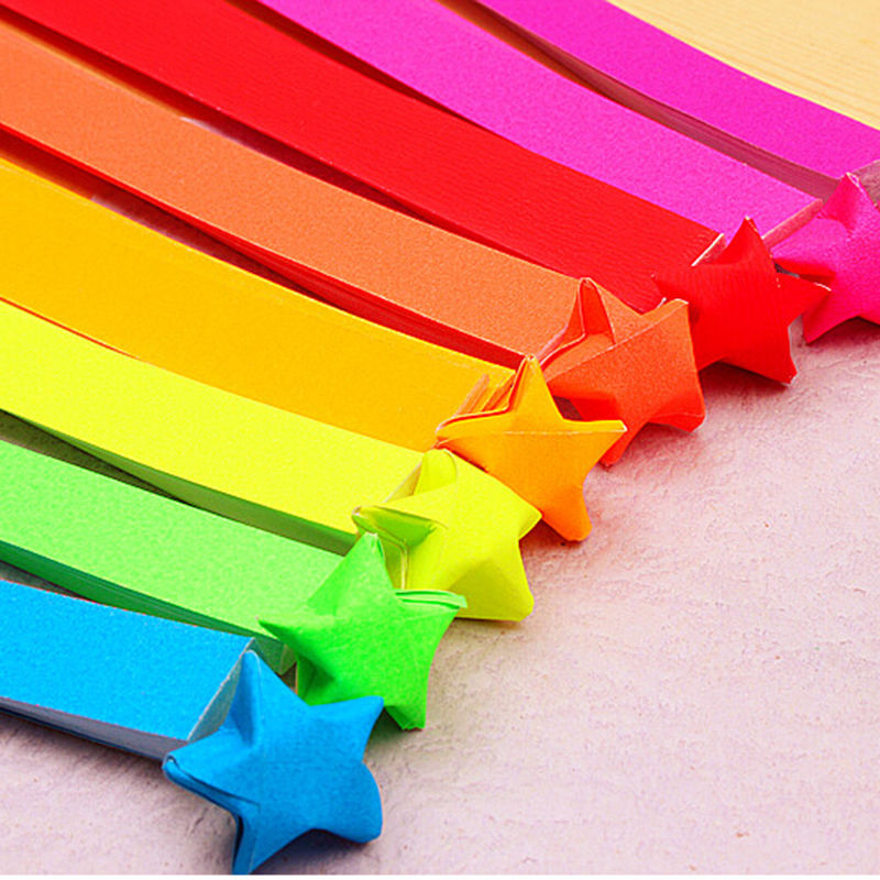 New Folding Star Origami Bright Color Lucky Star Paper Strips Quilling Paper Home Decorative Paper Craft Party Gift #249099