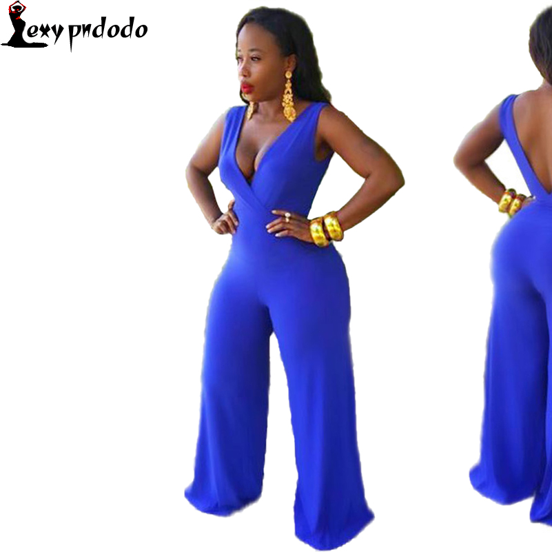 Sexy Blue V Neck Sleeveless Casual Summer Rompers Womens Jumpsuit Wide Leg Loose Long Pants V Back Solid Color Party Jumpsuit