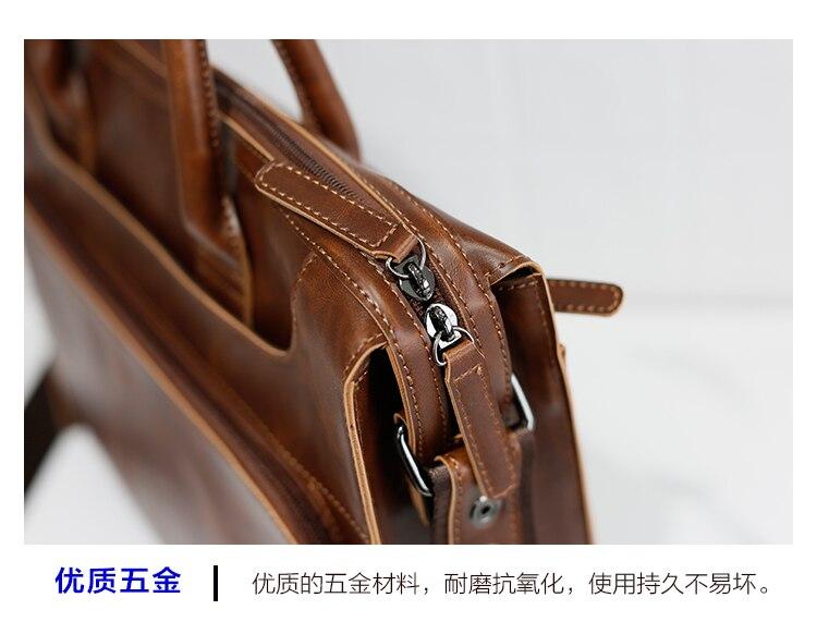 HTB1Si0Jj2NNTKJjSspeq6ySwpXa5 Brand Men's Briefcase Handbag Crazy Horse Pu Leather Messenger Travel Bag Business Men Tote Bags Man Casual Crossbody Briefcases