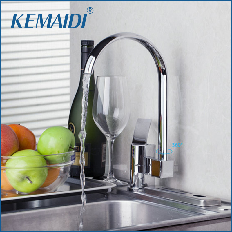 KEMAIDI Wholesale And Retail Chrome Solid Brass Single Hole Vessel Swivel Mixer Tap Swivel Spout  Kitchen Sink FaucetKEMAIDI Wholesale And Retail Chrome Solid Brass Single Hole Vessel Swivel Mixer Tap Swivel Spout  Kitchen Sink Faucet