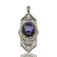 Free shipping to buy 2015 new product promotion classic purple crystal silver filigree natural pearl * women pendant